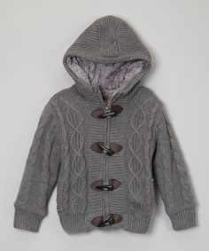Gray Hooded Toggle Sweater  I'd like to knit this! Not a pattern