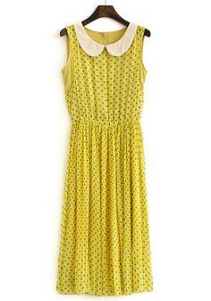 ++ Yellow Polka Dot Cascading Ruffle Chiffon Dress