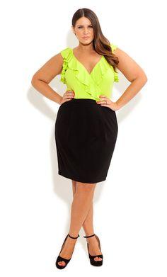 City CHic COLOUR POP DRESS - Women's Plus Size Fashion
