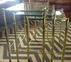 faux bamboo brass nesting tables