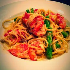 Cajun shrimp. Used original Rotel, used 1 tablespoon Tony's seasoning, frozen bag asparagus, and 3/4 box wheat spaghetti noodles. Delish!