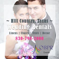 Wedding Rentals Marble Falls and Hill Country, TX. It's your big day, so it's a BIG deal! Our wedding rentals include chair rentals, linen rentals, tent rentals, wedding décor rentals, and more. All of which will provide you with both quality and elegance on your wedding day in Hill Country. Want to see our party rental showroom and portfolio? We are open (Monday-Friday 9am-5pm) and (Saturdays 9am-2pm) - or CALL: 830-798-2000. http://outbackpartyrentals.com/