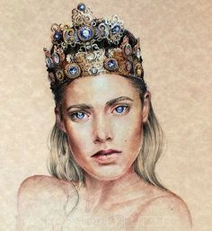 Colored pencil sketch of Doutzen Kroes by Georgina Kreutzer
