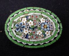 Oval Vintage Made in Italy Micro Mosaic Brooch