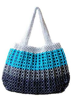 Aqua, Grey and Marine Bean Bag Beaded Purses, Beaded Bags, Crochet Purses, My Bags, Purses And Bags, Good Color Combinations, Crochet Curtains, African Design, Knitted Bags