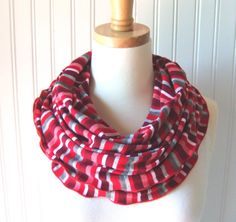 Stripe Infinity Scarf  Red and Heather Grey Striped by JANNYSGIRL, $18.00