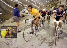 Tour de France 1959. 18^Tappa, 14 luglio. Le Lautaret > Aosta. Col du Galibier. Federico Bahamontes (1928), l'Aquila di Toledo, pedala in maglia gialla. Al suo fianco Roger Rivière (1936-1976). Alle spalle di Bahamontes, Charly Gaul (1932-2005).