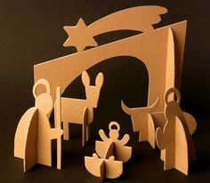 Cardboard Christmas Nativity - Love it! Nativity Crafts, Christmas Nativity, Christmas Art, Christmas Ornaments, Diy And Crafts, Crafts For Kids, Paper Crafts Origami, Cardboard Art, Xmas Decorations