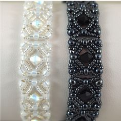 Deb Moffat-Hall's Aug 2012 bracelets. one in Hematite and one in gold lined white opal