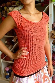 Free knitting pattern for Easy Tank Top - Emma Fassio's free pattern for Rosa's Sleeveless Cardi -Jumper was adapted into this easy cute sleeveless top by clairegirl. Quick knit in bulky yarn