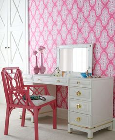 Fabulous vanity with pop up round brass hardware, love the pink chinese Chippendale chair...Lilly Furniture is here!