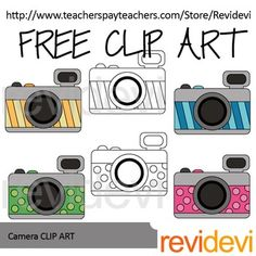 Free camera clip art in vibrant colors. Designed by Revidevi. You will get 4 colored graphics and 2 black and white line art. Great for photography theme… Classroom Projects, Classroom Themes, Classroom Clipart, Selfie Bulletin Board, Camera Clip Art, Science Clipart, Valentines Day Clipart, Infant Classroom, School Clipart