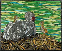Sandhill Cranes Mosaic  Wall Hanging by CherieBosela on Etsy