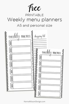 Free Printable Menu Planners from Hanna Nilsson Designs {newsletter subscription required}