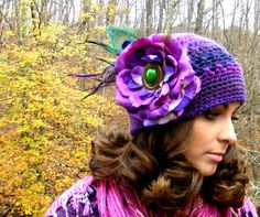 Womans Crochet Hat - Purple Flapper Cloche with Retro Brooch - Ostrich Feather Plume - Peacock Feather
