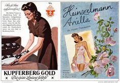 Original-Werbung/ Anzeige 1942 - VIERFARBANZEIGE :KUPFERBERG GOLD SEKT /RÜCKS. HEINZELMANN DAMENWÄSCHE-  ca.100x140 mm