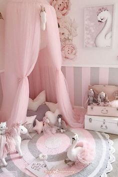 Little Girl Bedrooms, Pink Bedroom For Girls, Baby Bedroom, Baby Room Decor, Playroom Decor, Toddler Girl Bedrooms, Girls Fairy Bedroom, Swan Nursery Decor, Pastel Girls Room