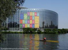 Edificio del Parlamento Europeo en Estrasburgo, en Alsacia, Francia