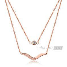 IFEEL Geschenkbox + Edelstahl Rose Gold Halskette Kette Collier Strass