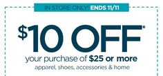 JCPenney: $10 Off $25 Printable Coupon