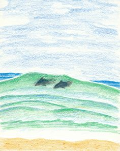 DOLPHIN SURF  .  .  .  #dolphin #surf #wave #animals #beach #sea #wwf #illustration #drawing #sketch  .  #돌고래 #서핑 #파도타기 #동물보호 #바다 #해변 #일러스트 #드로잉 #스케치