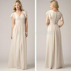 Chiffon Modest Bridesmaids Dresses With Fluttering Sleeves Sheath V Neckline Coverd Button Back New Arrival Maid Of Honor Gown Sty 1230 Ivory Bridesmaid Dress Non Traditional Bridesmaid Dresses From Prettycolor, $73.3| Dhgate.Com
