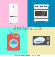 Various household appliances for the home icon set in vector flat style. White refrigerator / fridge. Red washing machine. Electric Range / Stove. Microwave.