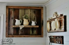 Salvaged Wood Display Shelf by KNICK OF TIME @ http://knickoftimeinteriors.blogspot.com/2014/04/salvaged-wood-display-shelf.html