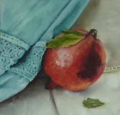 FineArtSeen - Pomegranate with draped fabric by Toula Pafitis. This original still life painting is full of stunning detail and comes from the collection on FineArtSeen. Click to view more art at great prices from the Home Of Original Art. << Pin For Later >>