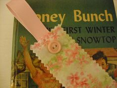 Pink Pastel Floral Bookmark Fabric with Ribbon and Button - Book Mark - Book Marker - Page Marker