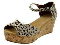 #cute Toms Women's Platform Wedges Snow Leopard Burlap (7.5)