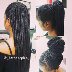 Feed In Cornrows With Individuals Extra Long Braids By