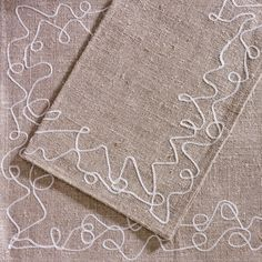 ANICHINI | Langett Table Linens - Hand Embellished Linen Napkins, Placemats, Runners, and Tablecloths