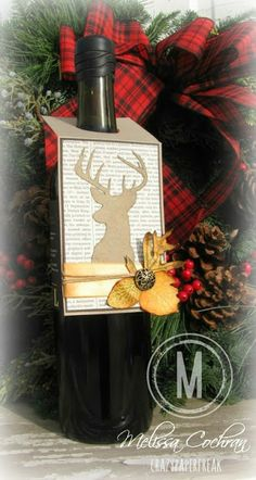 Stampin' Up! Wine bottle gift tag created by Melissa @ crazypaperfreak.blogspot.com. Supplies: Cardstock ~ Crumb Cake, Early Espresso, Very Vanilla Ink ~ Soft Suede, Pumpkin Pie, Crushed Curry, Early Espresso, Baked Brown Sugar, Sahara Sand Stamp Sets ~ Remembering Christmas, French Foliage (retired) Embellishments ~ Antique Brads, hemp twine, orange ribbon
