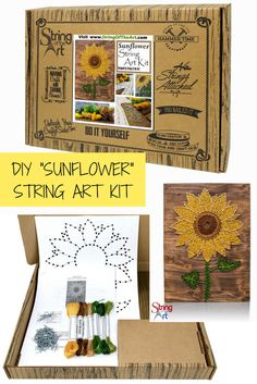 Unique DIY Sunflower String Art Kit. Make for yourself or give as a gift to a loved one. Creative Gift Idea! #String Art #Sunflower #DIY
