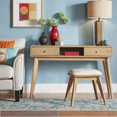 Penelope Danish Modern Vanity Console Table by MID-Century Living (Natural Oak Table + Stool), Brown Online Furniture Stores, Furniture Deals, Sideboard Furniture, Bedroom Furniture, Credenza, Bedroom Decor, Oak Table, Console Table, Sofa End Tables
