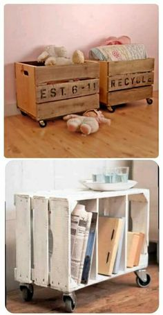 DIY Decor Ideas for Pallets {pallet - DIY – Repurpose crates with casters to make side tables or toy boxes. Crates often c - Reclaimed Wood Furniture, Wood Crates, Repurposed Furniture, Pallet Furniture, Furniture Ideas, Pallet Crates, Pallet Sofa, Furniture Storage, Plywood Furniture