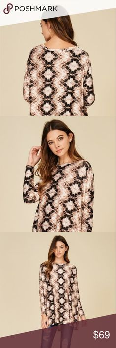 Knit Top featuring Aztec print, round neck Long sleeve, doleman, Loose, relaxed, Soft and Snug Material  96% Rayon 4% span MERAKI CLOTHINGS Tops Tees - Long Sleeve