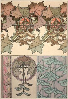 ART NOUVEAU: Patroon *Pattern  ~Plaat 39 uit 'Documents Decoratifs' 1902 van Mucha~