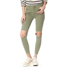 Free People High Rise Busted Skinny Jeans ($79) ❤ liked on Polyvore featuring jeans, moss, zipper skinny jeans, stretch jeans, denim skinny jeans, high waisted skinny jeans and green jeans