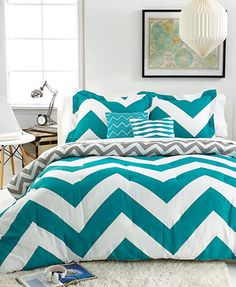 Option for bedspread: Chevron Teal 5 Piece Comforter Sets
