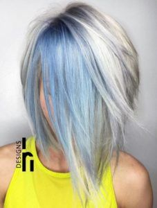 40 Cool Pastel Hair Colors in Every Shade of Rainbow Layered Silver Bob With Pastel Blue Balayage - Station Of Colored Hairs Blonde And Blue Hair, Silver Blue Hair, Ombre Hair Color, Pastel Hair Colors, Gray Hair, Purple Hair, Icy Blue Hair, Burgendy Hair, Pastel Blue Hair