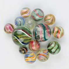 Lot Of 14: Large Swirl Marbles.