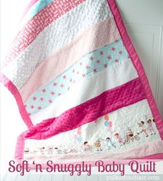 Soft n Snuggly Baby Quilt Tutorial. A great beginner quilt project. Uses strips of many different textures of fabric to make a super soft sensory blanket for a baby.