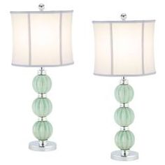 @Overstock.com - Indoor 1-light Jade Inspired Globes Table Lamps (Set of 2) - The Jade inspired globe lamp (set of 2) is sure to inspire bright ideas. It features a white linen shade and a metal body with three jade colored cermanic globes.  http://www.overstock.com/Home-Garden/Indoor-1-light-Jade-Inspired-Globes-Table-Lamps-Set-of-2/6575368/product.html?CID=214117 SGD              280.00