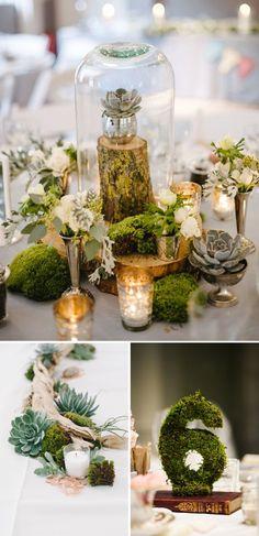 Decoracion de boda con musgo. Campanas de cristal