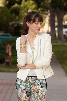 Jord Wood Watch, Floral Pants, Mint Tee, Gorjana Necklace, White Moto Jacket #JORDwatch