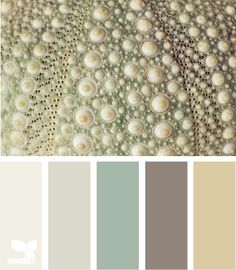 Matches my bedding:  This palette would create such a calming vibe in a bedroom.... paint most of the walls the cream color at the end and paint an accent wall with the smoky purple color. Bed covering in the very soft, pale purple-gray and use the muted grey toned green for accent colors like throw pillows, vases, etc.