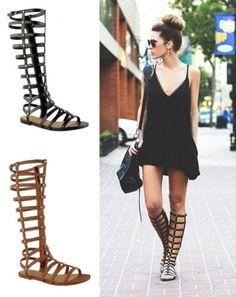 Mesdames-spartiates-pour-femme-a-laniere-plat-genou-zip-bottes-chaussures-taille