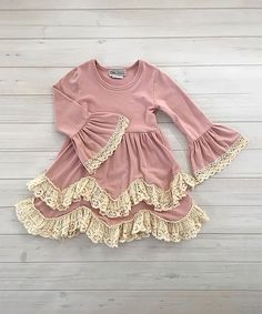 She'll be twirl-ready in this Dusty Pink Lace Trim Dress over 50% off!